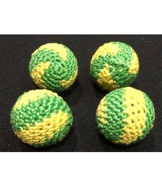 Ronjo Crocheted Balls Acrylic 4 pk, 3/4 inch - Swirl Yellow/Green