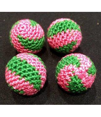 Ronjo Crocheted Balls Acrylic 4 pk, 3/4 inch - Swirl Pink/Green