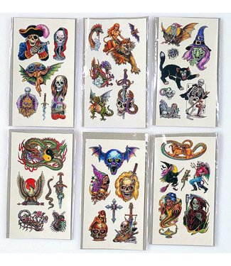 Rubies Costume Company Hardcore Assortment Temporary Tattoos 1 Sheet