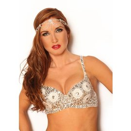 Sequin Beaded Bra Top , Gold - M/L by Western Fashion Inc.