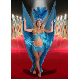 Samba Bra Sequin/Beaded/Fringe, Turquoise - M/L by Western Fashion Inc.