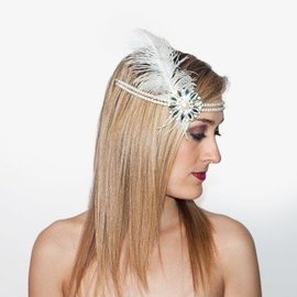 1920s Flapper Headpiece - White