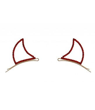 Devil Horns Bobby Pins, Rhinestone - Red by Crystal Avenue
