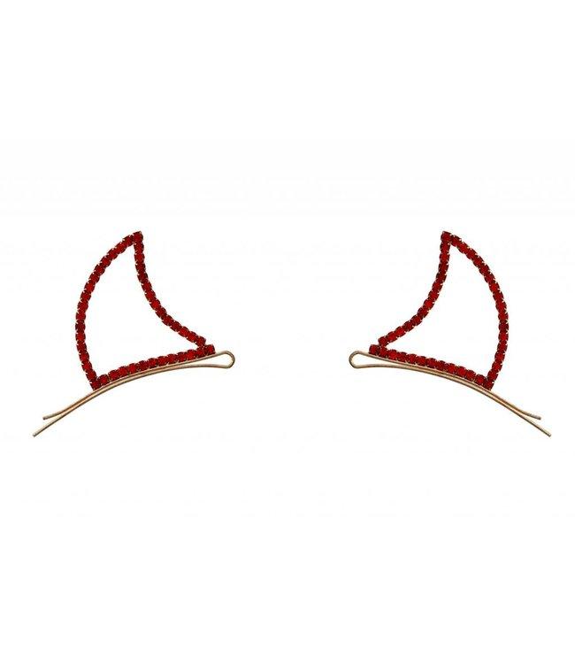 Devil Horns Bobby Pins, Rhinestone - Red by Crystal Avenue