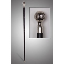 """China Wooden Cane with Chrome Knob Handle 36"""" - Black"""
