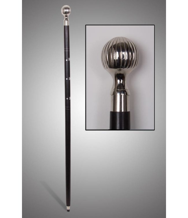 "Wooden Cane with Chrome Knob Handle 36"" - Black"