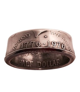 Genuine Half-Dollar Coin Ring, Size 14.0  by Diamond Jim Tyler