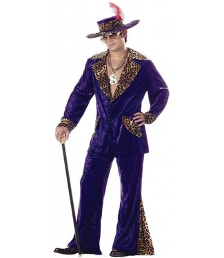Pimp, Purple with Leopard - Large 42-46 by California Costumes