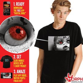 Morris Costumes and Lacey Fashions Creepy Doll Face T-Shirt XL by Morph Digital Dudz
