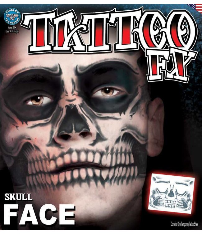 Tinsley Transfers Skull Face Tattoo