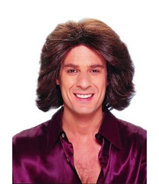 Costume Culture by Franco American Deluxe Feathered 70's Wig - Male Brown