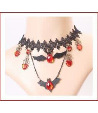Victorian Lace Choker w/Bat Charms by Hand Made Jewlery