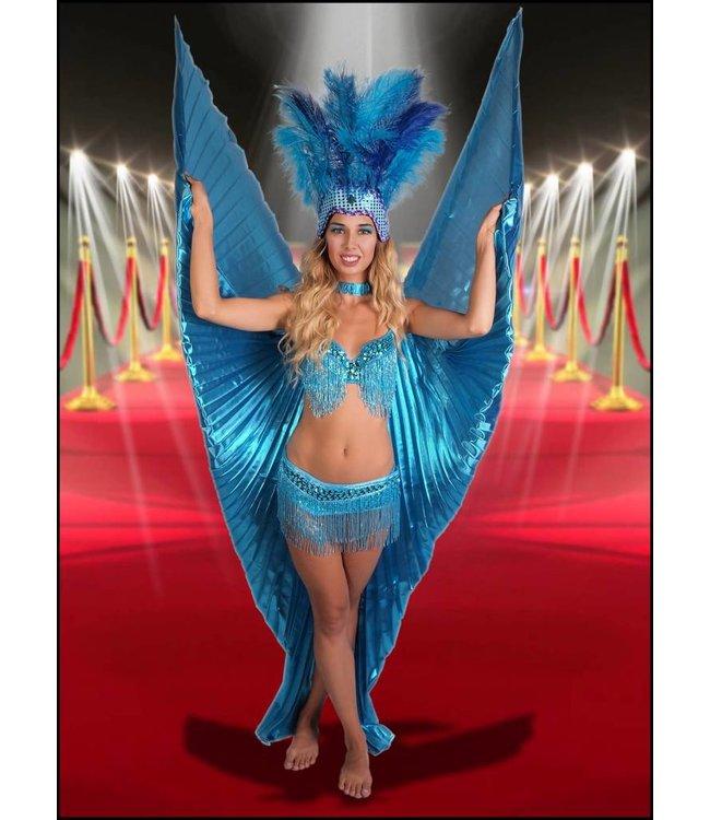 Samba Bra Sequin/Beaded/Fringe, Turquoise - L/XL by Western Fashion Inc.