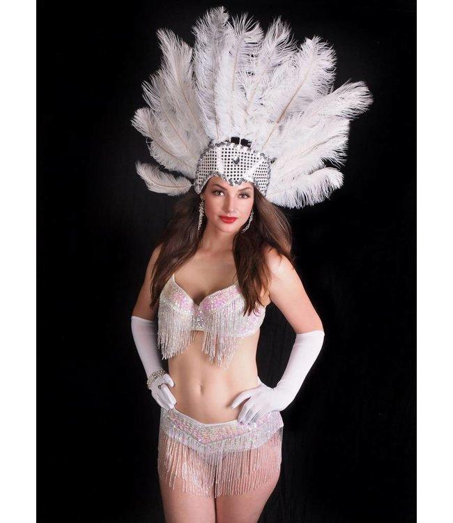 Samba Bra Sequin/Beaded/Fringe, White- M/L by Western Fashion Inc.