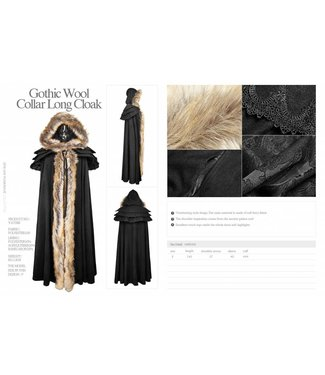 Punk Rave Gothic Wool Collar Long Cloak - Black (/391)