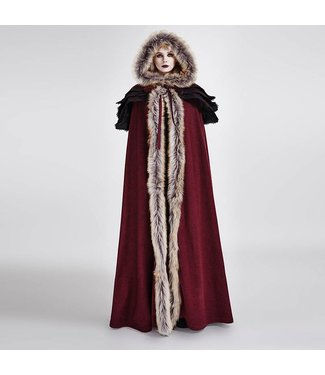 Punk Rave Gothic Wool Collar Long Cloak - Red
