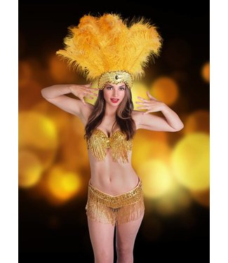 Samba Bra Sequin/Beaded/Fringe, Gold Large - L/XL by Western Fashion Inc.