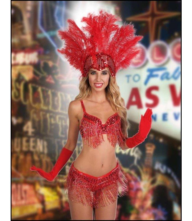 Samba Sequin Beaded Belt, Red - M/L by Western Fashion Inc.