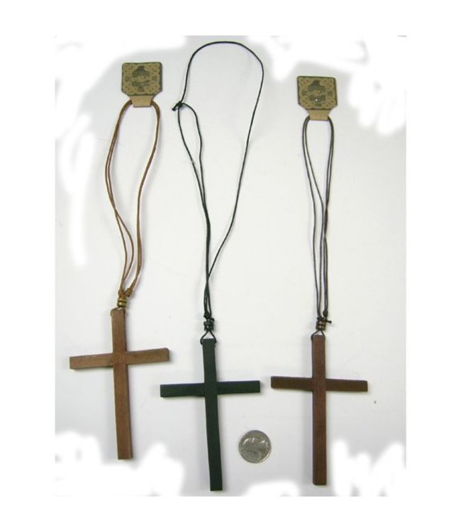 Necklace Cross Wooden, Brown by Hand Made Jewlery  (C13)