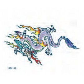 Johnson And Mayer Flaming Dragon Temporary Tattoo by Johnson And Mayer