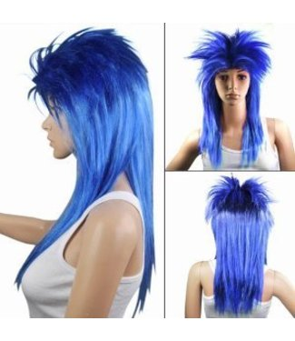 Morris Costumes and Lacey Fashions Punk Fright, Blue - Wig