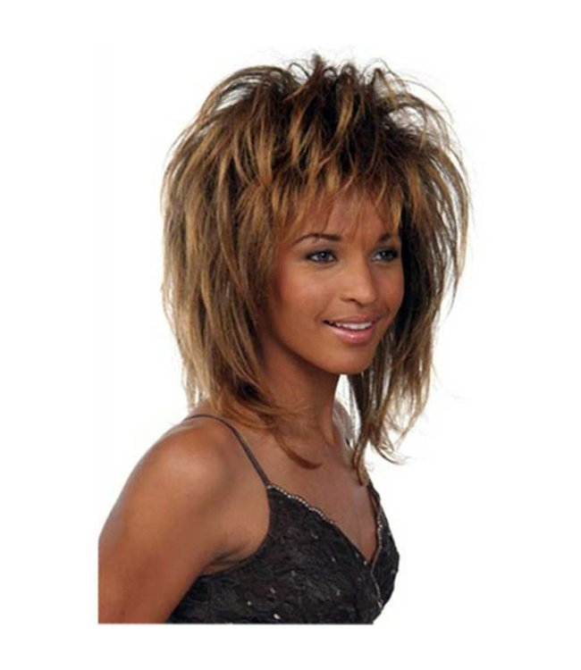 Morris Costumes and Lacey Fashions Tina, Deluxe, Brown Frosted Mix - Wig