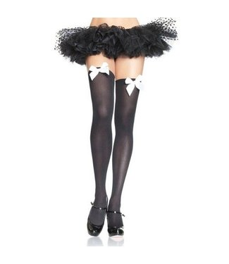 Leg Avenue Black Opaque Thigh High With White Satin Bow