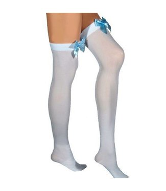 Leg Avenue White Opaque Thigh High With Blue Satin Bow