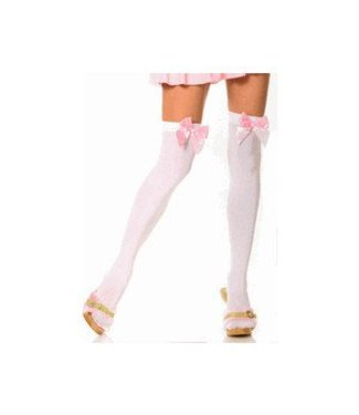 Leg Avenue White Opaque Thigh High With Pink Satin Bow