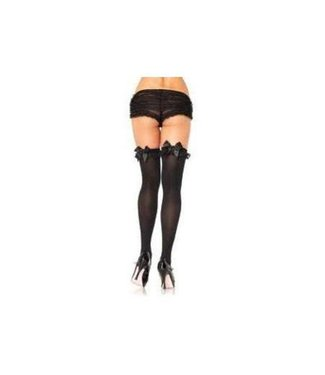 Leg Avenue Black Opaque Thigh High w/ Ruffles And Black Bow - Leg Avenue