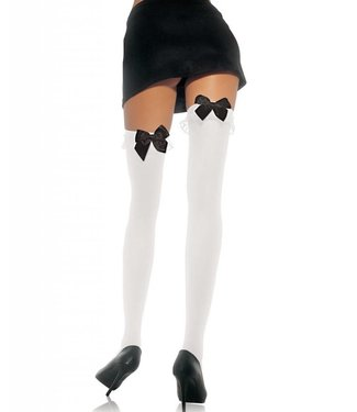 Leg Avenue White Opaque Thigh High w/ Ruffles And Black Bow - Leg Avenue