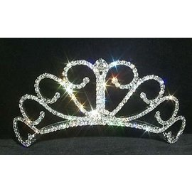 Raised Princess Tiara - 2 inch Rhinestone Jewelry Corporatrion