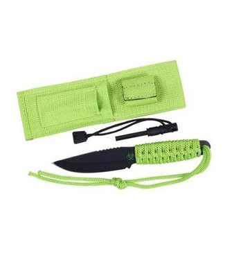 Paracord Knife With Fire Starter - Safety Green by Rothco