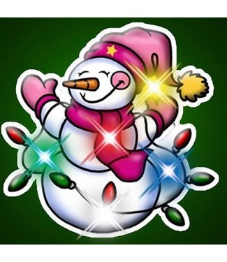 Snowman With Light Strand Flashing Pin