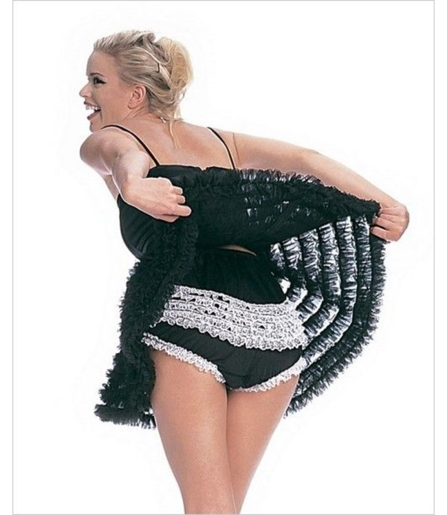 Leg Avenue Ruffle Back Rhumba Panty blkwht S/M