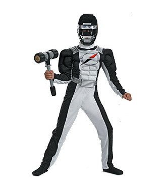 Disguise Power Ranger Black Overdrive, Child 10-12, cracked mask