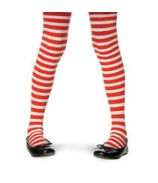 Leg Avenue Nylon Striped Stockings - Red/White