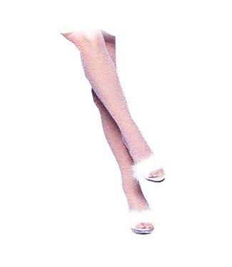 Leg Avenue Glitter Lycra Fishnet Pantyhose Pink/Silver - Leg Avenue