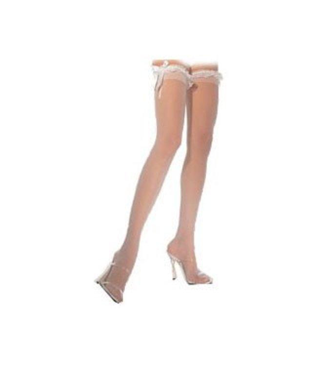 Leg Avenue Sheer Thigh High with Ruffle Top - White