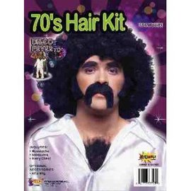 Forum Novelties Men's 70's Disco Hair Kit - Moustache, Sideburns and Hairy Chest