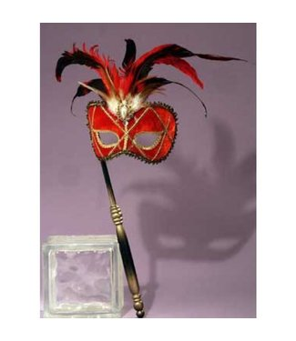Forum Novelties Red Pearl Feather Venetian Mask with Stick