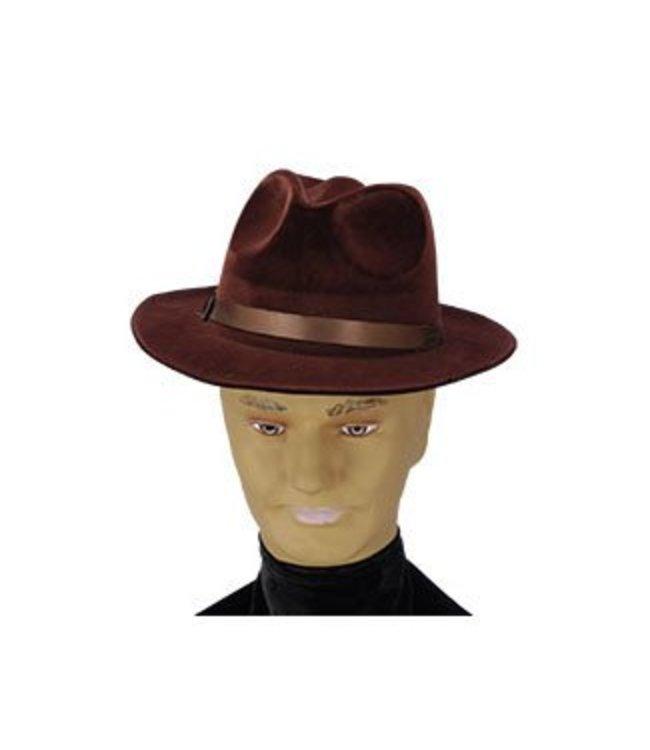Forum Novelties Brown Flocked Gangster Hat