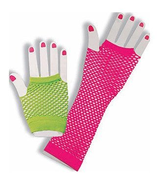 Forum Novelties Fingerless Fishnet Gloves - Neon (C4)