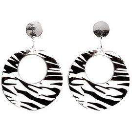 Forum Novelties 80's Zebra Black and White Earrings (C4)