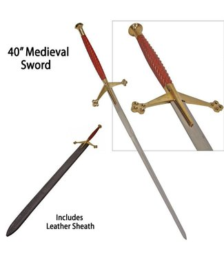 Wood and Brass Medieval Sword - 40 inch