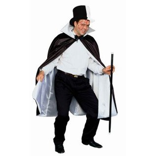 Forum Novelties Deluxe 56 inch Satin Reversible Cape - Black and White