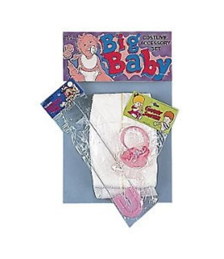 Forum Novelties Baby Kit - Adult, Pink Diaper/Pacifier/Pin