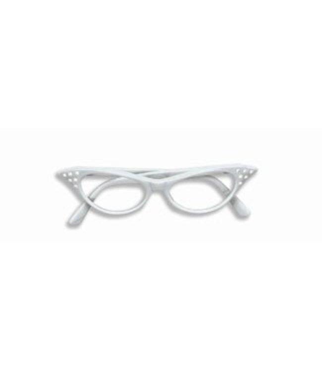 Forum Novelties 50's Rhinestone Eye Glasses - White