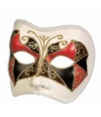 Forum Novelties White Venetian Half Mask MR-200