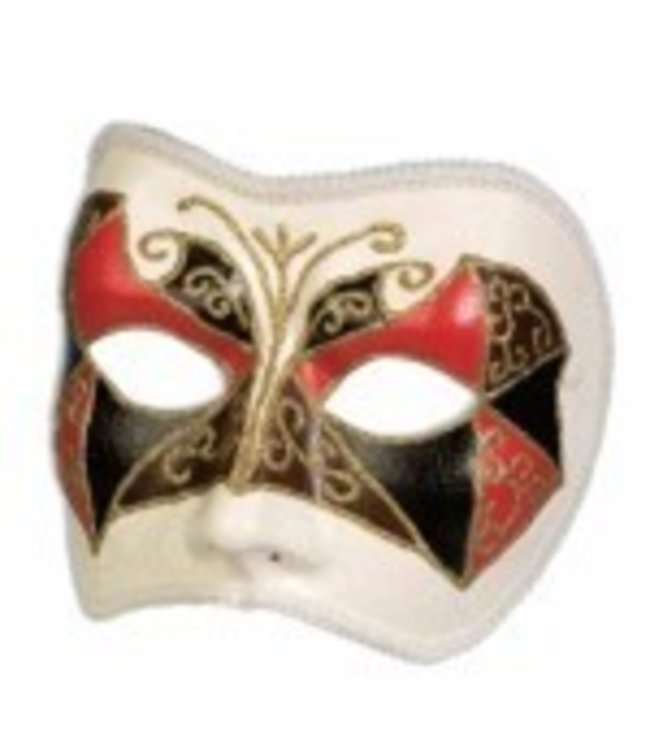 Forum Novelties White Venetian Half Mask MR-200